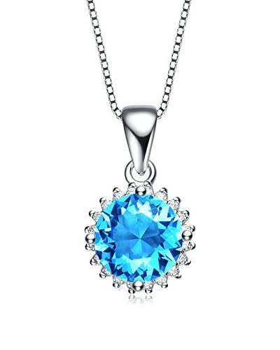 Genevive Jewelry Blue Topaz CZ Stud Necklace