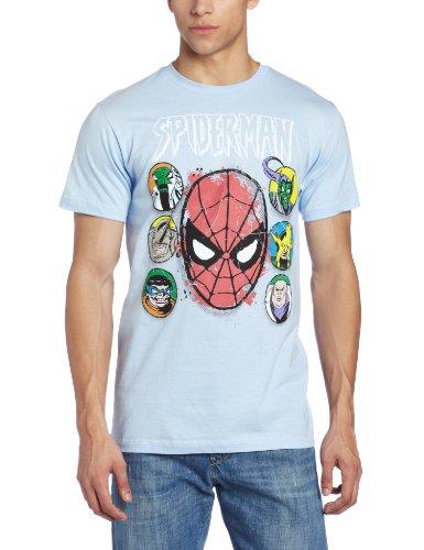Spiderman Men's Marvel Seven Heads T-Shirt, Light Blue, Large (T Shirt Spiderman)