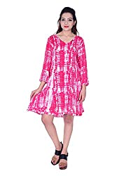 MSONS Women's Pink Shibori A-line V-Neck Short Dress in Rayon Fabric