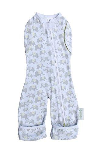 Woombie Convertible Leggies Baby Swaddler (Newborn (5-13 Lbs), Happy Elephants) front-3519