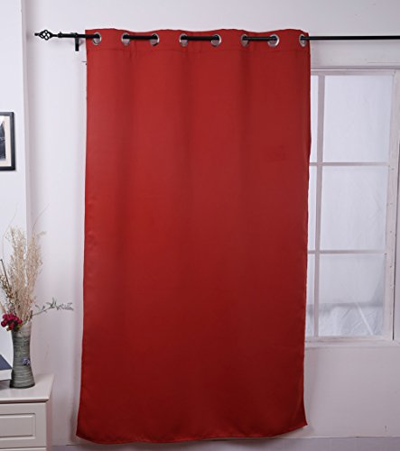 Deconovo Grommet Top Blackout Curtain Home Decor 52X84 Inch Orange Red front-636540