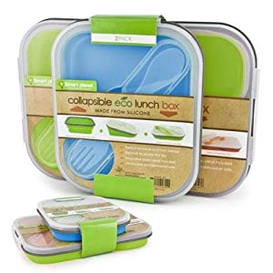 collapsible eco lunch box set color blue green everythi. Black Bedroom Furniture Sets. Home Design Ideas