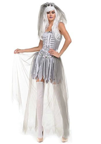 [NonEcho Women's Ghost Bride Skeleton Halloween Costume for Adult] (Monster High Costumes Walmart)