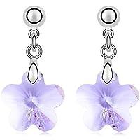 Crystal Flower Earrings Swarovski Element Silver Stud Violet