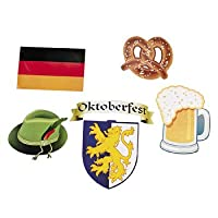 Lot of 12 Assorted Cardboard Oktoberfest Cutouts Beerfest Party Decorations by Fun Express