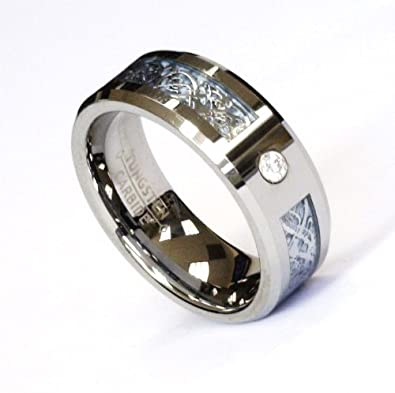 Mens Dragon Cz Blue Ring Wedding Band