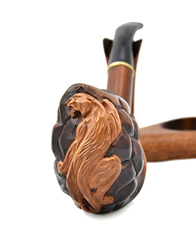 Pear wood hand carved tobacco smoking pipe panther