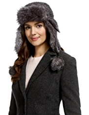 M&S Collection Tweed Faux Fur Trapper Hat with Wool