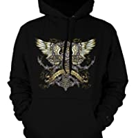 Love Conquers  Tattoo Designs on Wings Mens Tattoo Sweatshirt  Old School Tattoo Style Design Hoodie
