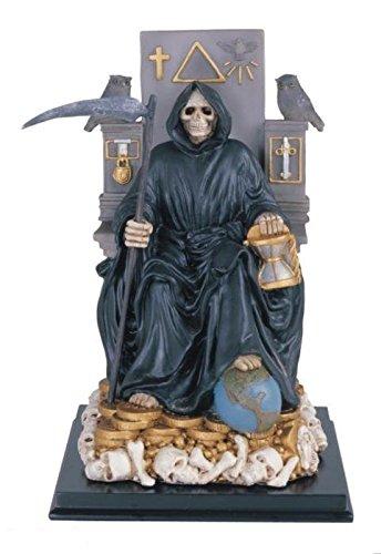 12 Inch Sitting Black Santa Muerte Saint Death Grim Reaper Statue (Resine Figurines compare prices)