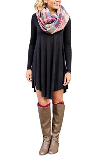 Aquiv-Womens-Long-Sleeve-V-Neckline-Casual-Loose-T-Shirt-Dress