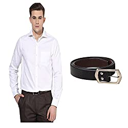 Trendiez white colored full sleeve regular fitting cotton fabric shirt with black leather belt for Men's