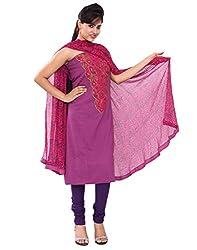 Chhipa Women Embroidery Work Purple Unstitchesd Suit Fabric