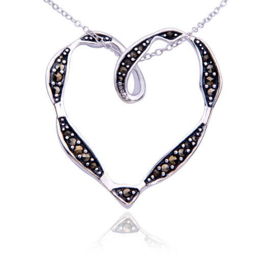 Sterling Silver Marcasite Open Heart Pendant Necklace , 18