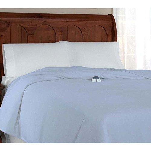 Serta Ultra Plush Low-Voltage Electric Heated Micro-Fleece Full Blanket, Soft Blue