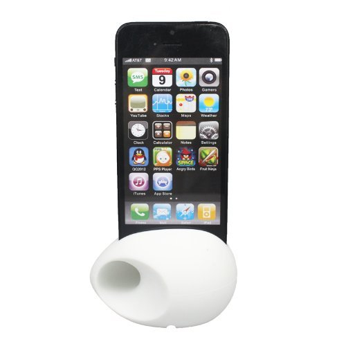 Noarks ® Silicone Egg Stand Holder Audio Dock Amplifier Music Speaker For Iphone 4 4S 5 White