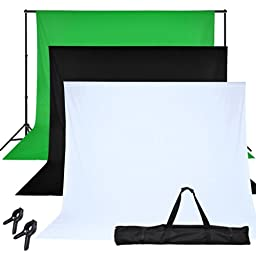 6x9ft Chroma Key Green Screen with Black and White Background 10ft X 6-1/5ft Backdrop Support Stand Kit w/ Carrying Case & Background Clamps