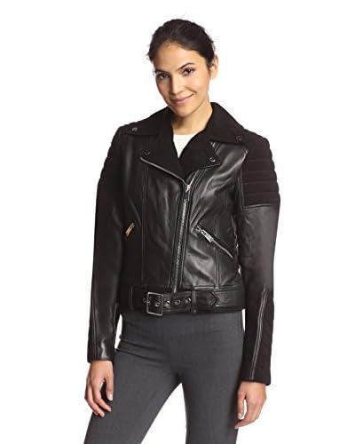 Nicole Miller Women's Leather Combo Moto Jacket