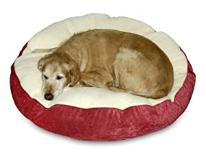 Happy Hounds Scout Deluxe Round Dog Bed, Small 30-Inch, Crimson/Sherpa
