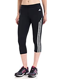 Adidas Women\'s Techfit Three-Quarter Tights 3-Stripes, Black/White/Matte Silver, XLarge