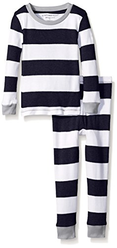 Burt's Bees Little Boys Rugby Stripe Pajama Set, Midnight, 5 Years