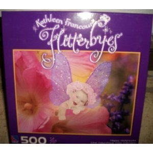 Kathleen Francour Flitterbyes Happy Hollyhocks 500 Piece Puzzle by Sure-Lox