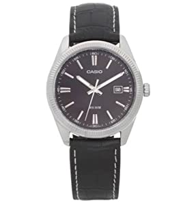 Genuine Leather Strap Casio Men's Classic Black Dial Strap Watch
