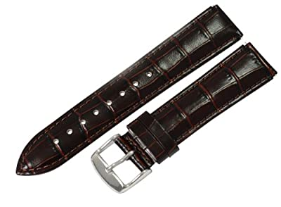 Clockwork Synergy® - 20mm x 18mm - Brown Croco Grain Leather Watch Band fits Philip stein Large