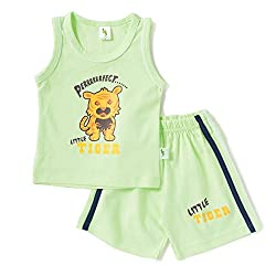 Cucumber Sleeveless Little Tiger Print T-Shirt & Set - Light Green (3 to 6 months)