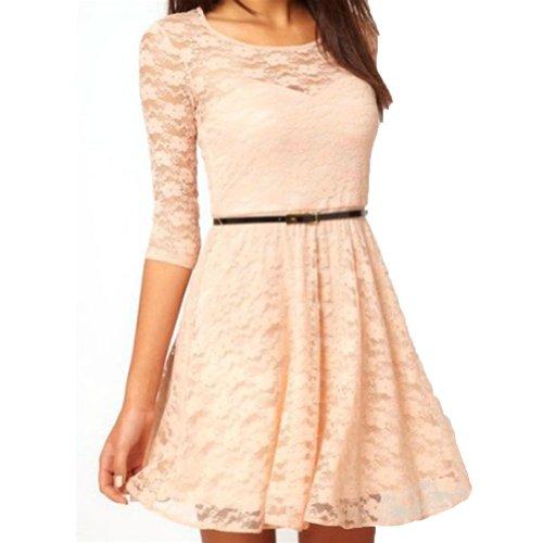Often(TM) Damen Spitze Kleid mit Gurtel 4 Farbe