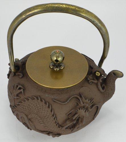 Cast Iron Tea Pot (Teapot) / Tea Kettle (Teakettle) - Flying Dragon, Light Brown