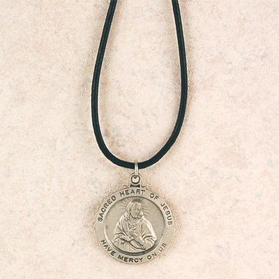 Hand Engraved New England Pewter Medal Sacred Heartn Medal on a 24