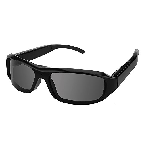 Flylinktech 1080P HD高画質 メガネ型ビデオカメラ 高解像度スポーツサングラス型 ハイビジョンビデオ&カメラ メガネ 小型カメラ 防犯 録画 (グレー)