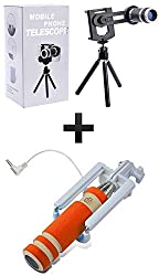 Generic 8X Zoom Universal Mobile Phone Telescope Camera Lens & Tripod + Adjustable Holder with Free Mini Monopod Aux Wired Selfie Stick - Random Colours