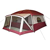 Ozark Trail 12-Person Cabin Tent with Screen Porch (Red/Green)