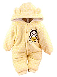 Baby Toddler Cotton Long Sleeve Jumpsuit Front Button (Yellow,9-12 Months)