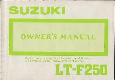 1988 Suzuki Atv 4 Wheeler Lt-F250 P/N 99011-20850-03A Owners Manual (564) front-427812