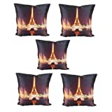 meSleep Digitally Printed Eiffel Tower with Light 5 Piece Cushion Cover Set - Multicolor