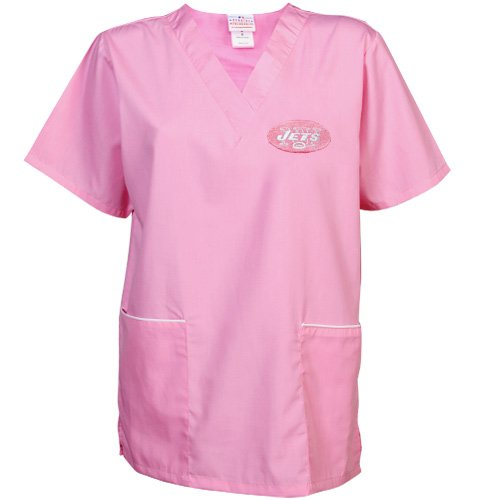 NFL New York Jets Ladies Cancer Care Scrub Top - Pink (Medium) at Amazon.com
