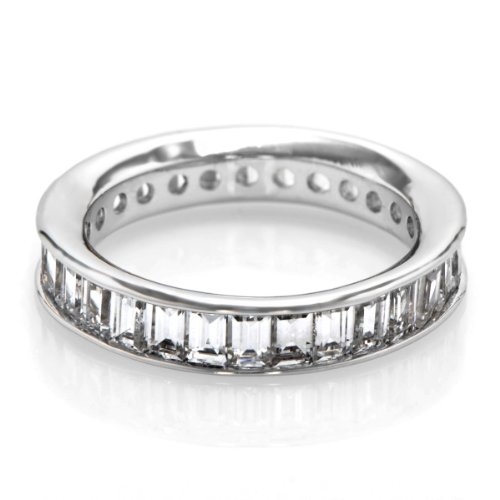 Lilith's Channel Set CZ Eternity Band - Emerald Step Cut
