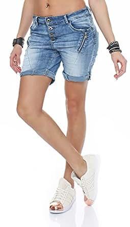 skutari kurze damen hosen jeans shorts baggy boyfriend bekleidung. Black Bedroom Furniture Sets. Home Design Ideas