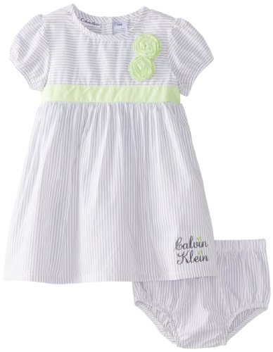 Calvin Klein Baby-Girls Infant Dress with Panty, Gray, 18 Months