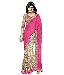 Vatsla Women's Heavy Brasoo Saree (Pink_cream)