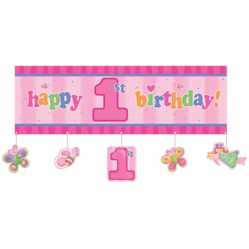 Creative Converting Fun at One Happy First Birthday Girl Party Banner