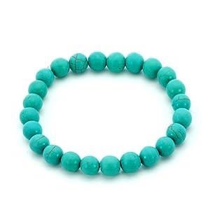 Pugster Genuine Turquoise Gemstone Chunky Stretch Bracelet
