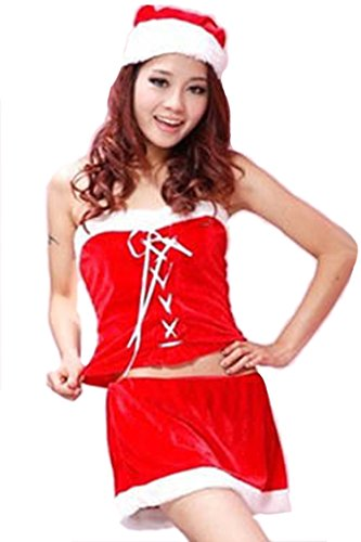 Pink Queen Womens Velvet Miss Santa Claus Strapless Dress Christmas Costume Outfits