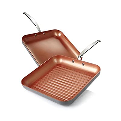 Simply Ming Ceramic Nonstick Grill and Griddle Bundle Set of 2 Pans!