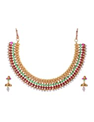 The Jewelbox Antique Gold Plated Red Green Stone Pearl Hand Crafted Choker Necklace Earring Set