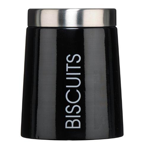 Premier Housewares Pot à biscuits conique Émail Noir