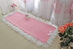 Korean Style Romantic Pink Rug Cute Rose Rug for bedroom